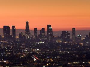 California, Los Angeles, Downtown from Hollywood Bowl Overlook, Dawn, USA by Walter Bibikow