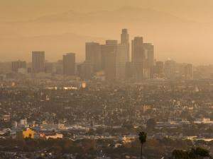 California, Los Angeles, Downtown View from Baldwin Hills, Sunrise, USA by Walter Bibikow