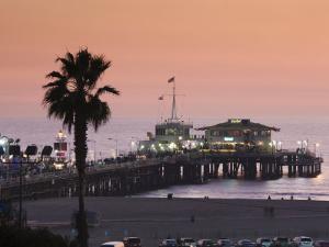 California, Los Angeles, Santa Monica, Santa Monica Pier, Dusk, USA by Walter Bibikow
