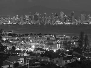 California, San Diego, City and Shelter Island Yacht Basin from Point Loma, Dusk, USA by Walter Bibikow