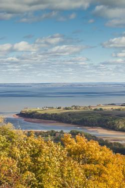 Canada, Nova Scotia, Canning. The Lookoff, elevated view of the Annapolis Valley in autumn. by Walter Bibikow