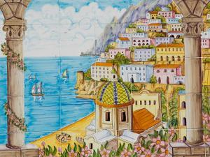 Ceramic Shop with Positano View Done in Tile, Positano, Amalfi, Campania, Italy by Walter Bibikow
