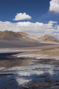 Chile, Atacama Desert, Salar De Aguas Calientes, Salt Pan and Lagoon by Walter Bibikow