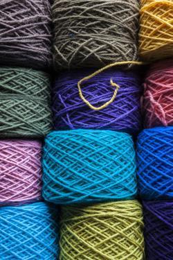 Chile, Los Lagos, Puerto Montt, Angelmo Market, Chiloe Wool Yarn by Walter Bibikow