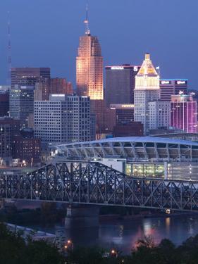 Cincinnati and Ohio Rvier, Ohio, USA by Walter Bibikow
