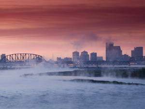 City Skyline along Ohio River, Louisville, Kentucky, USA by Walter Bibikow