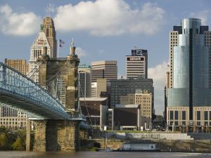 City Skyline along the Ohio River, Cincinnati, Ohio by Walter Bibikow