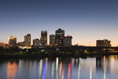 City Skyline from the Arkansas River, Dusk, Little Rock, Arkansas, USA
