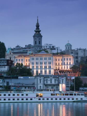 Danube River Cruiser and Stari Grad Along Sava River, Belgrade, Serbia