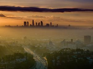 Dawn View of Downtown, Los Angeles, California, USA by Walter Bibikow