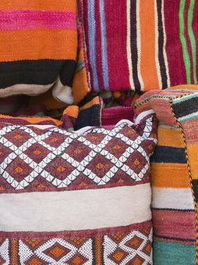 Details of the Carpet Souk, the Souqs of Marrakech, Marrakech, Morocco by Walter Bibikow