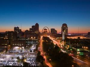 Downtown and Gateway Arch at Dawn, St. Louis, Missouri, USA by Walter Bibikow