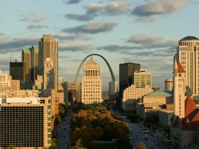 Downtown and Gateway Arch at Sunset, St. Louis, Missouri, USA by Walter Bibikow