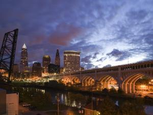 Downtown View and Detroit Avenue Bridge, Cleveland, Ohio, USA by Walter Bibikow