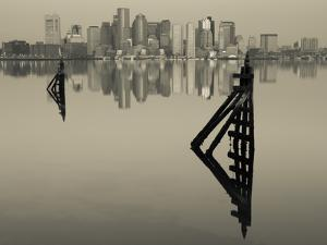 East Boston, Financial District from Logan Airport, Boston, Massachusetts, USA by Walter Bibikow