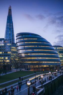 England, London, Shard Fand London City Hall Buildings, Dusk by Walter Bibikow