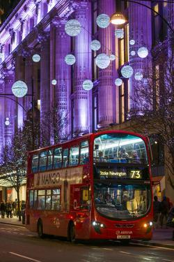 England, London, Soho, Oxford Street, Chirstmas Decorations and London Bus by Walter Bibikow