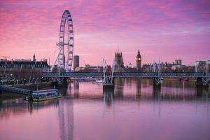 England, London, Southbank, the London Eye, Sunrise by Walter Bibikow