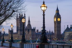 England, London, Victoria Embankment, Houses of Parliament and Big Ben by Walter Bibikow