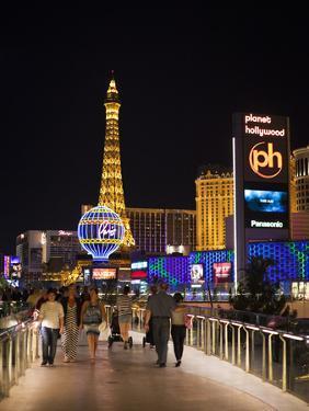 Evening from Walkway, Las Vegas Boulevard, the Strip, Las Vegas, Nevada, Usa by Walter Bibikow