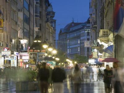 Evening Pedestrian Traffic on Knez Mihailova Street, Belgrade, Serbia