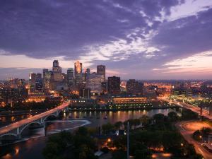 Evening Skyline Scene from St. Anthony Main, Minneapolis, Minnesota by Walter Bibikow