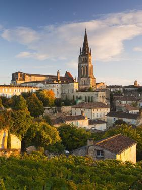France, Aquitaine Region, Gironde Department, St-Emilion, Wine Town, Town View with Eglise Monolith by Walter Bibikow