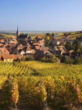 France, Bas-Rhin, Alsace Region, Alasatian Wine Route, Blienschwiller, Town Overview from Vineyards by Walter Bibikow