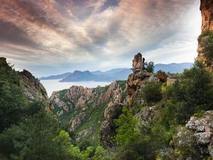 France, Corsica, Corse-Du-Sud Department, Calanche Region, Porto, Red Rock Landscape of the Calanch by Walter Bibikow