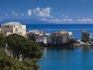 France, Corsica, Haute-Corse Department, Le Cap Corse, Erbalunga, Elevated Town View by Walter Bibikow