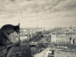 France, Paris, View from the Cathedrale Notre Dame Cathedral with Gargoyles by Walter Bibikow