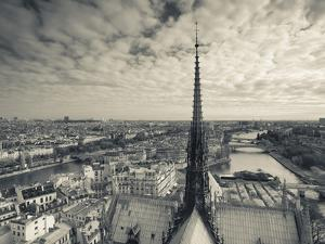 France, Paris, View of the Seine River and City from the Notre Dame Cathedral by Walter Bibikow