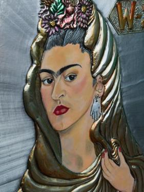 Frida Kahlo Art, Olvera Street Market, El Pueblo de Los Angeles, Los Angeles, California, USA by Walter Bibikow