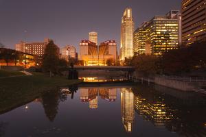 Gene Leahy Mall Skyline at Dawn, Omaha, Nebraska, USA by Walter Bibikow