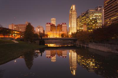 Gene Leahy Mall Skyline at Dawn, Omaha, Nebraska, USA