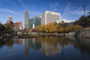 Gene Leahy Mall Skyline, Omaha, Nebraska, USA by Walter Bibikow