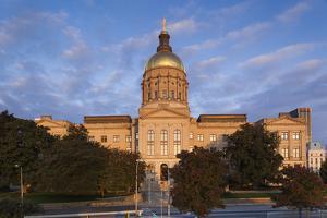 Georgia, Atlanta, Georgia State Capitol Building at Dawn by Walter Bibikow