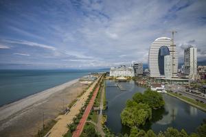Georgia, Batumi. Batumi Boulevard seaside promenade, view from Koshki Tower. by Walter Bibikow