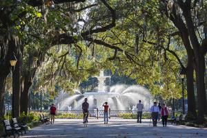 Georgia, Savannah, Fountain in Forsyth Park by Walter Bibikow