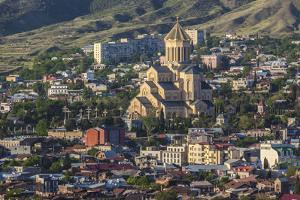 Georgia, Tbilisi. Holy Trinity Cathedral of Tbilisi. by Walter Bibikow