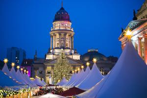 Germany, Berlin, Mitte, Gendarmenmarkt, Christmas Market, Elevated View with Deutscher Dom by Walter Bibikow