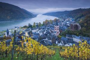 Germany, Rheinland-Pfalz, Bacharach, Elevated Town View, Autumn by Walter Bibikow
