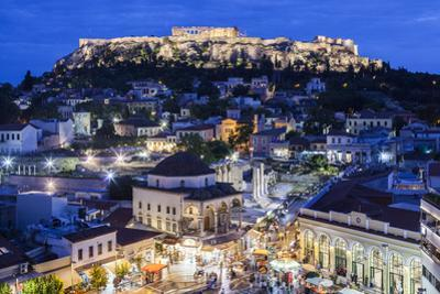 Greece, Athens of Monastiraki Square and Acropolis by Walter Bibikow