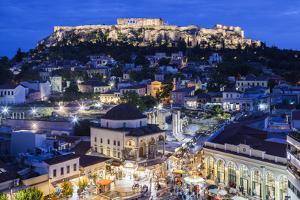 Greece, Athens of Monastiraki Square and Acropolis by Walter Bibikow