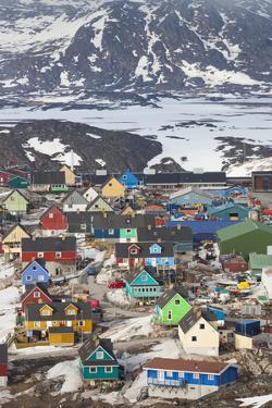 Greenland, Disko Bay, Ilulissat, Elevated Town View by Walter Bibikow