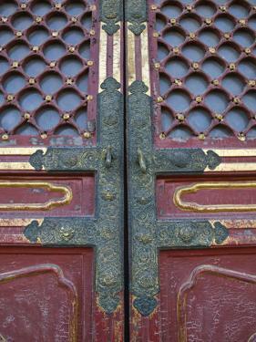 Hall of Supreme Harmony-door detail, The Forbidden City, Beijing, China by Walter Bibikow