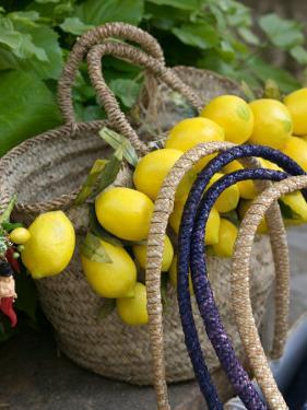 Handbag with Lemons, Positano, Amalfi Coast, Campania, Italy by Walter Bibikow