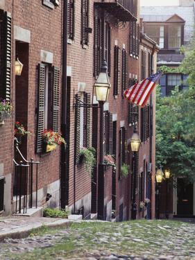 Houses Along Acorn Street, Boston, Massachusetts, USA by Walter Bibikow