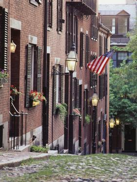 Houses Along Acorn Street, Boston, Massachusetts, USA by Walter Bibikow