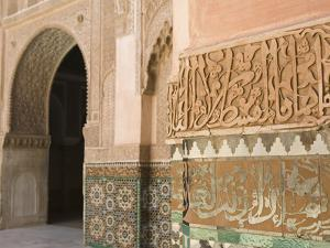 Interior Details, Ali Ben Youssef Madersa Theological College, Marrakech, Morocco by Walter Bibikow
